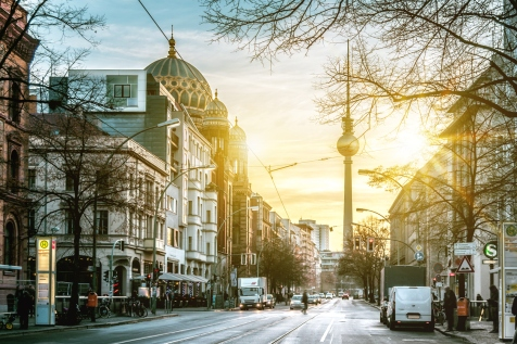 sunrise over Berlin Oranienburger Strasse with Tv-Tower and Synagogue